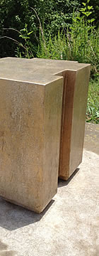 Glazed Gold Leaf Geometric Accent Table Patina